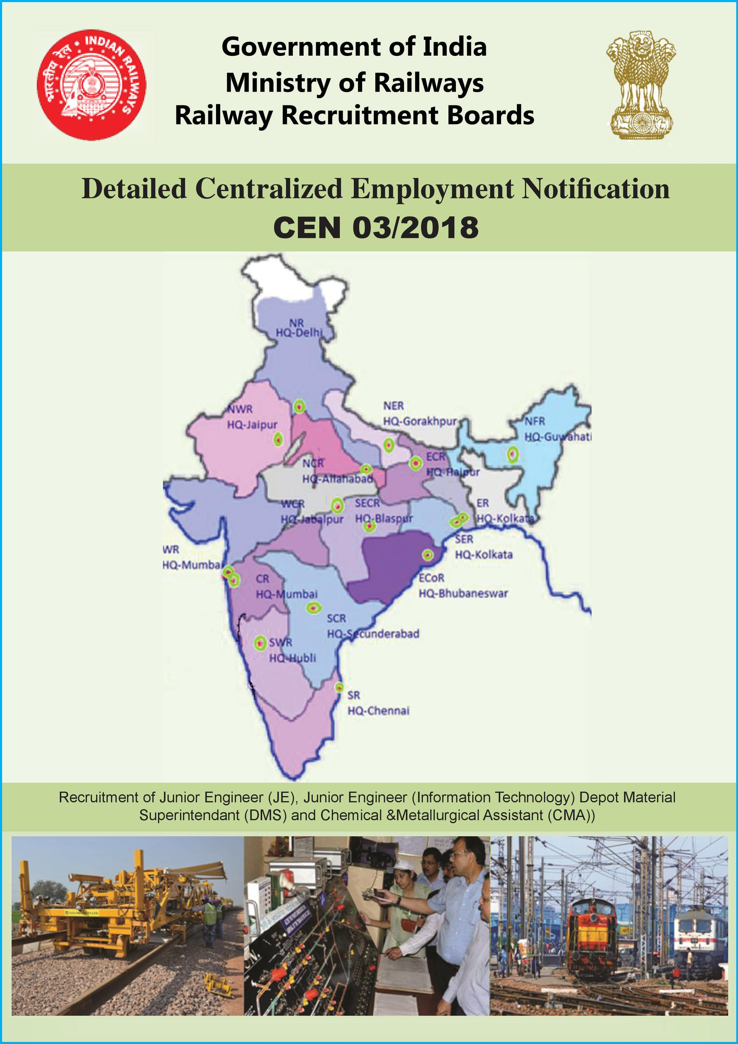 RRB JE Recruitment 2019 MAP