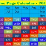 one page calendar 2019 with colors