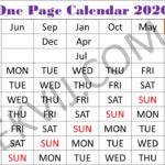 one page calendar 2020