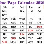 one page calendar 2021